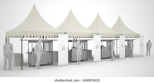 3d illistration sarnavile tent 3x3 m with food stall and table serving blank roll up banner for information product. High resolution image white background isolated.