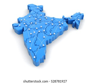 3D Illusration. Map of India with flight paths. Image with clipping path.