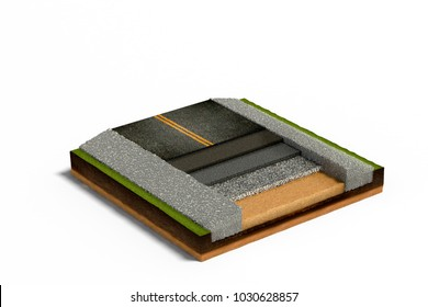 3D illusrtation of Asphalt Road Paving on Cross Section of Ground isolated on white background