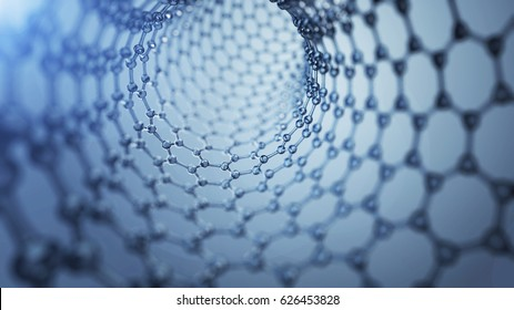 3d illusrtation of graphene molecules. Nanotechnology background illustration