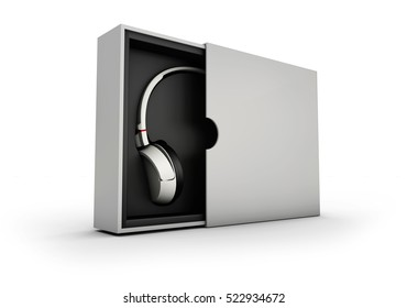 3d Illustaration of Black and silver headphones in white and black box on black background. Mockup