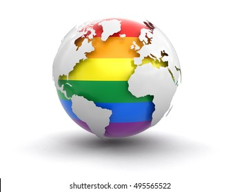 3D Illustartion. 3d Globe with Gay Pride color. Image with clipping path Elements of this image furnished by NASA