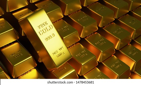 3d illustartion of gold bars 1000 grams pure gold