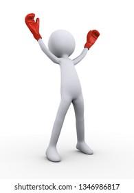 3d illustation render of winning  professional boxer fighter with gloves
