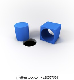 3D Illustrated Blue Square Peg Cylinder and a Round Hole on a Bright White Background.  A Unique Solution by thinking outside the box.