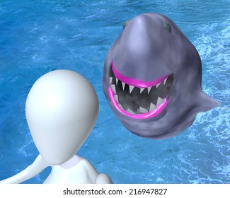3d illustrated 3d man  selfie with shark photobomb