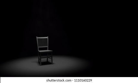 A 3D Illustrated metal chair sitting in a smokey spotlight in dark, black room or stage.  Lots of negative space for copy or graphics.  Very minimal monochromatic feel.