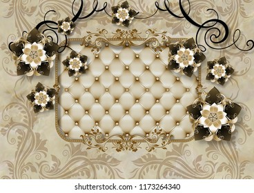 3d illustrated wallpaper design with capitone and luxury ornaments for photomurals