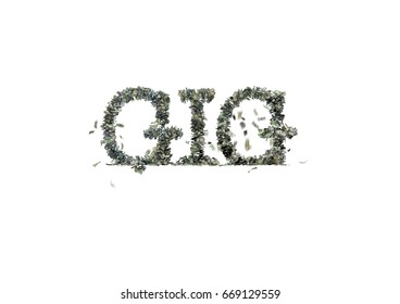 "3d illustration of 1, 5, 20, 50 and 100 dollar bills, spelling the word ""GIG"" in all caps"