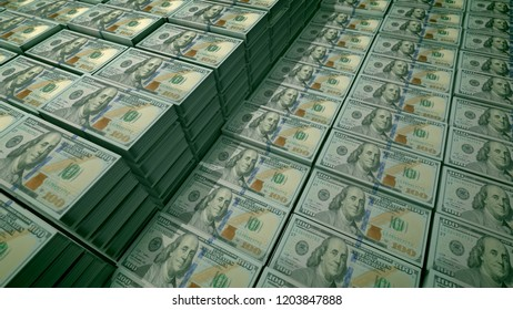 3d illustration of 100 dollar bills placed in bundles in a large bank depository. On the observe of the globally known banknotes there are portraits of Diplomat Father Benjamin Franklin.