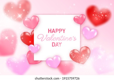 3d illustration of 14th February happy valentine's day wish card and poster