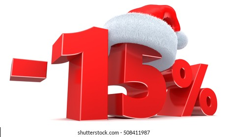 3d illustration of 15 percent Christmas discount sign