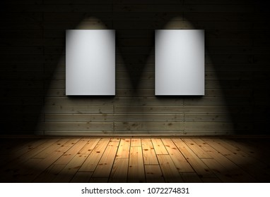 3D Illustration - 2 canvas with Spotlights and wood floor background