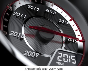 3d illustration of 2015 year car speedometer. Countdown concept
