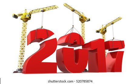 3d illustration of 2017 year sign constructiion