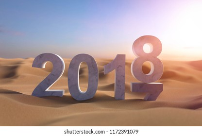 3D illustration 2018 New Year in the sand