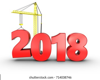 3d illustration of 2018 year with crane over white background