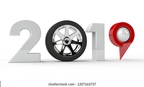3D illustration of 2019, the new Millennium, a symbol with a car wheel and a GPS navigation pin, the idea of technology development in the future. 3D rendering isolated on white background.