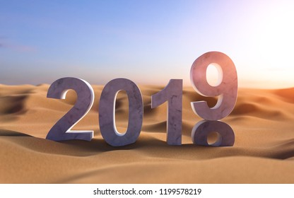 3D illustration 2019 New Year's sand
