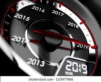3d illustration of 2019 year car speedometer. Countdown concept
