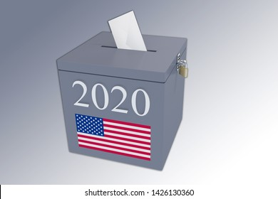 3D illustration of 2020 script on a ballot box, and an voting envelope been inserted into the ballot box, isolated over a gray gradient.