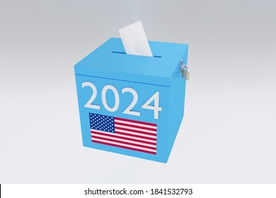3D illustration of 2024 script on a ballot box, and an voting envelope been inserted into the ballot box, isolated over a gray gradient.