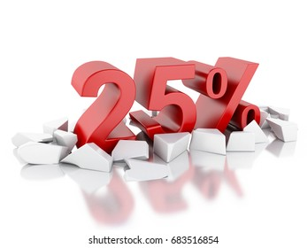 3d illustration. 25% icon on cracked surface. Discount concept. Isolated white background