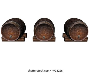 3D illustration of 3 wine barrels