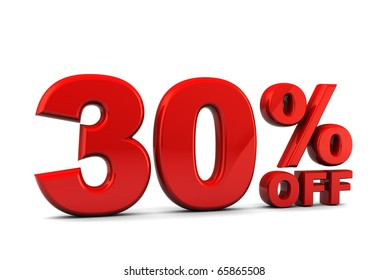 3d illustration of 30 percent discount sign over white background