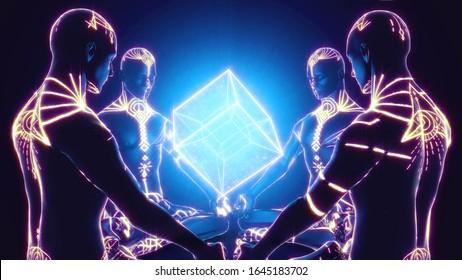 3D illustration. 4 demiurges meditate on the hypercube