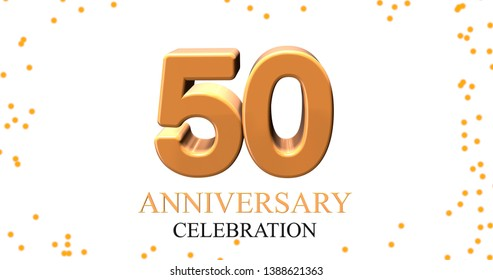 3D illustration of 50 anniversary celebration text on white background. 3D rendering.