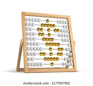 3D illustration abacus with dollar sign