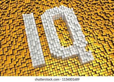 3d illustration of abbreviation for intelligence quotient made from cubes in mosaic pattern and pixel style