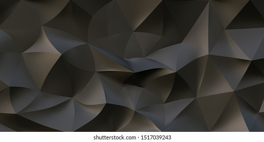 3D illustration Abstract background from black polygons with soft shadows. A large number of volumetric black triangles. Cell, black 3d panel. Render.3d texture. Beautiful, stylish background image.