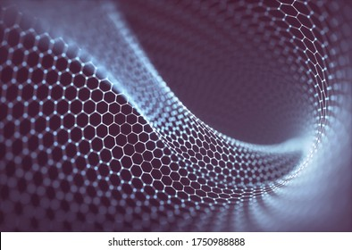 3D illustration abstract background. Conceptual image with hexagonal structure connection. Graphene concept.