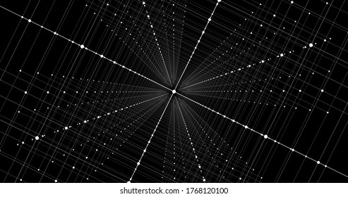 3D Illustration abstract background of dots grid lines wireframe matrix cube for future innovation digital concept