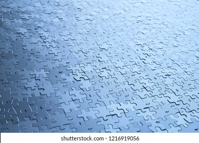 3D illustration abstract background. Image of puzzle pieces in chrome gray metal.