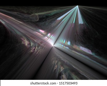 3d illustration - abstract background image, flat geometric plane with intersecting black lines, glowing blue light, soft colorful glowing parallel lines, intersecting paths, intersection of lines