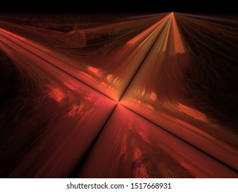 3d illustration - abstract background image, flat geometric plane with intersecting black lines, glowing red light, soft colorful glowing parallel lines, intersecting paths, intersection of lines