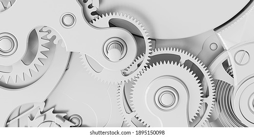 3d illustration. Abstract background. Background image with clockwork. 3d render. Light background with details of the clock. Volumetric elements of the clock with shadow. Texture, wallpaper, 3d panel