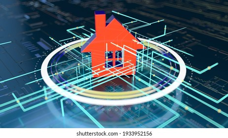 3D Illustration of an Abstract background of a real estate concept