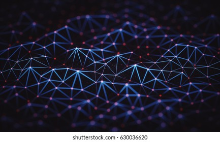 3D illustration, abstract background, technology concept. Binary surfaces interconnected by connections to data points.