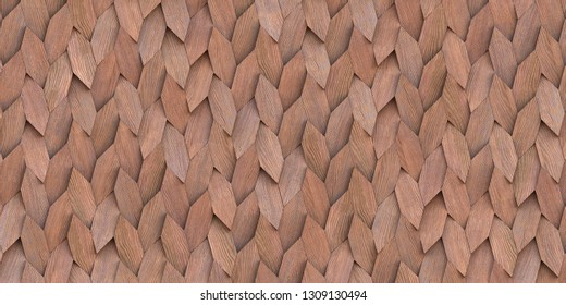 3d illustration. Abstract background, three-dimensional, realistic wooden planks in the shape of leaves with a shadow, with the texture of natural wood, are arranged chaotically. Wood panel. Render