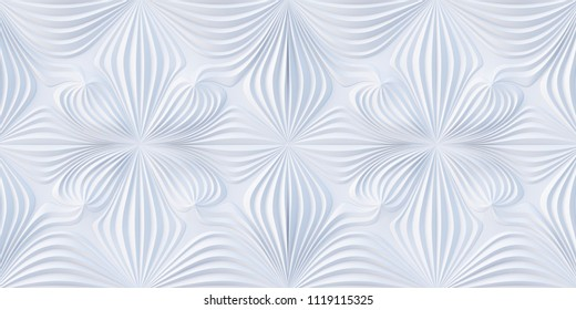 3d illustration. Abstract background. White glossy relief panel in the form of waves creating a floral ornament. Holiday background, greeting card.3d geometric background with shadow. 3d panel.Render
