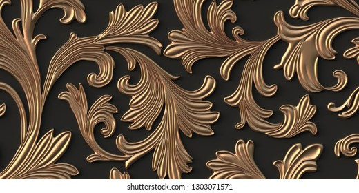 3D illustration Abstract background. Work, voluminous golden branches with leaves, with shadow on a black background. Decorative grill with a floral ornament, 3D panel. Futuristic background. Render