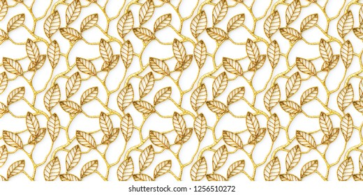 3D illustration. Abstract background.Openwork, voluminous golden branches with leaves, with shadow on a white background. Decorative grill with floral ornament,3D panel. Futuristic background.Render