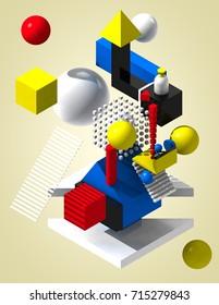 3D Illustration Abstract Bauhaus Art
