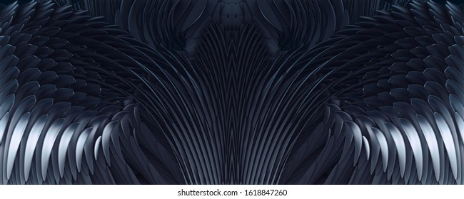 3d illustration abstract black demon wings background