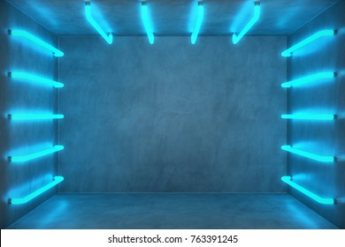 3D Illustration Abstract blue room interior with blue neon lamps. Futuristic architecture background. Box with concrete wall. Mock-up for your design project,