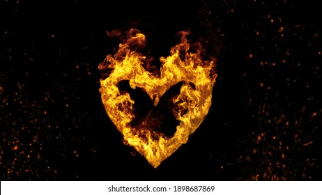 3d illustration of abstract Burning Heart background with flame and sparkles